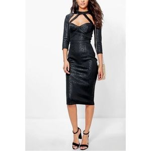 Boohoo Tall Sera Caged Cut Out Midi Dress